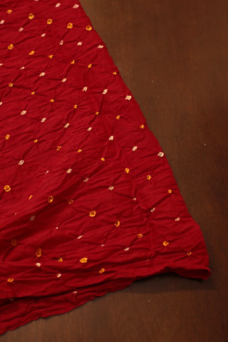 Red with Yellow Dots Bandhani  cotton Fabric-1.7 m