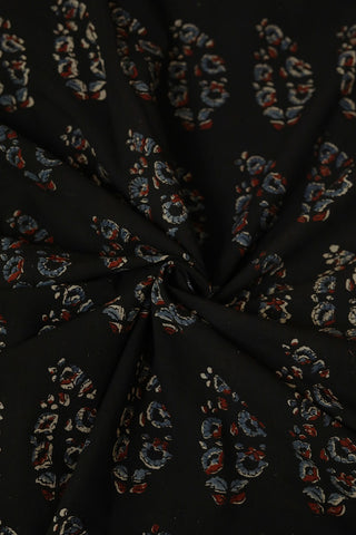 Black with Subdued Blue Ajrak Cotton Fabric