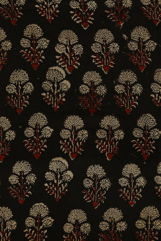 Black with Beige Floral Ajrak Cotton Fabric
