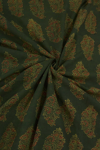 Subdued Green with Maroon Floral Block Printed Ajrak fabric -1.5m