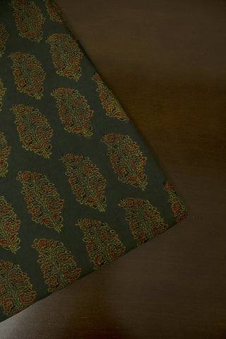 Subdued Green with Maroon Floral Block Printed Ajrak fabric