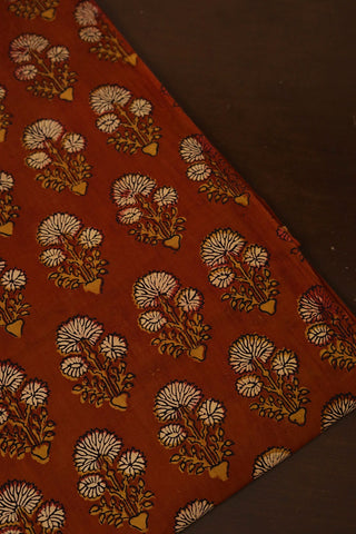 Brick Red with Beige Ajrak Cotton Fabric
