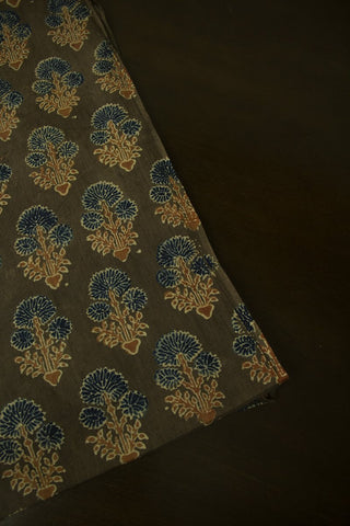 Brown with Indigo Daisy Block Printed Ajrak fabric