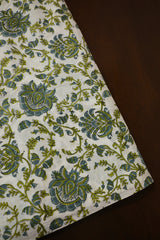 White with Blueish Grey Floral Sanganeri Cotton Fabric