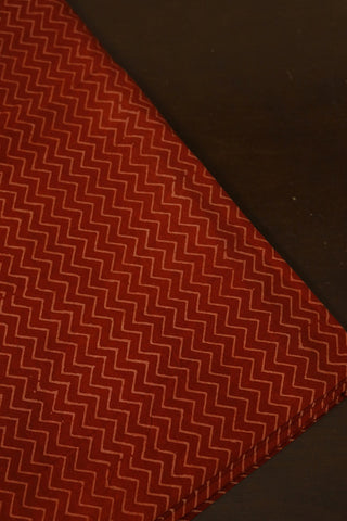 Maroon Zig Zag Ajrak Cotton Fabric