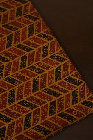 Yellow with Maroon and Black Ajrak Cotton Fabric-0.6m