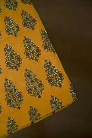 Fenugreek with Indigo Floral Block Printed Ajrak fabric