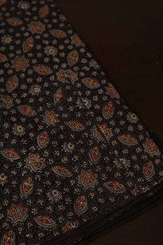 Elephant Grey with Stars and Ovals Ajrak Cotton Fabric