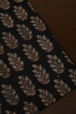 Black with Subdued Indigo Ajrak Cotton Fabric