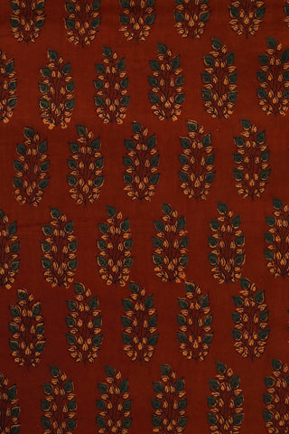 Rust Red with Green Leaves Ajrak Cotton Fabric