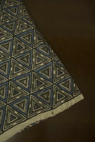 Black with Indigo Triangles Block Printed Ajrak fabric