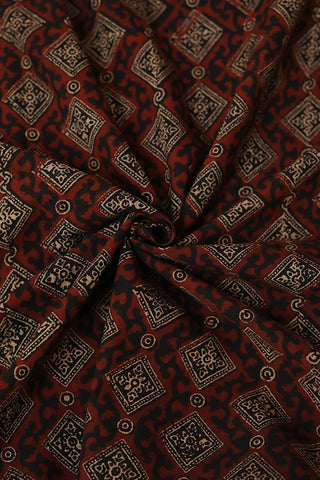 Maroon with Black Squares Ajrak Cotton Fabric