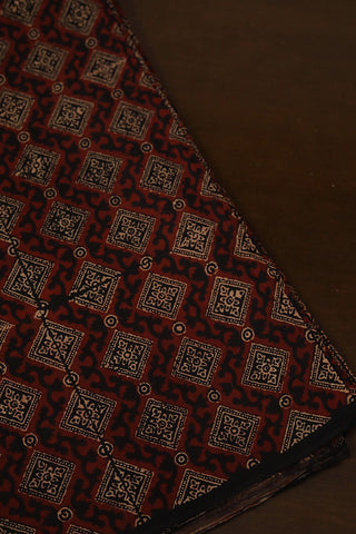 Maroon with Black Squares Ajrak Cotton Fabric-0.5m