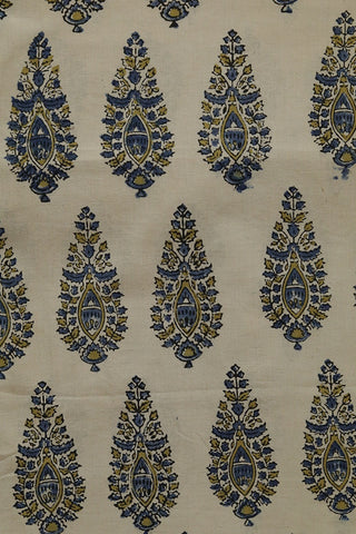 Blue with Yellow Intricate Design Ajrak Cotton Fabric