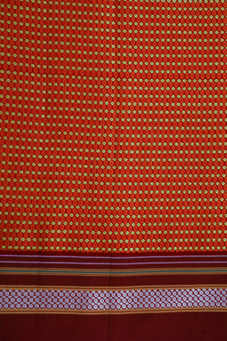 Maroon with Orange Small Circles Khun Cotton Fabric