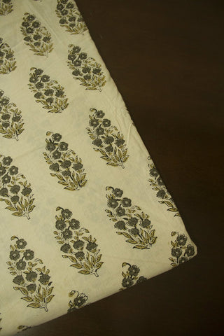 Grey with Yellow Flower Floral Block Printed Ajrak fabric