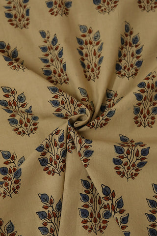 Light Beige with Indigo Leaves Ajrak Cotton Fabric