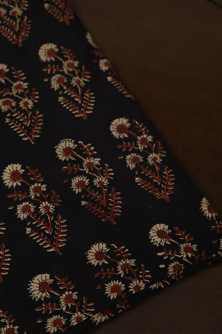 Maroon with Beige Floral Ajrak Cotton Fabric