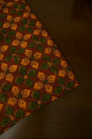 Yellow with Green Flowers Block Printed Ajrak fabric