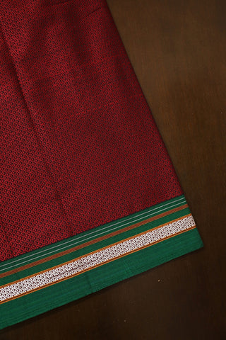 Maroon with Green Border Khun Cotton Fabric