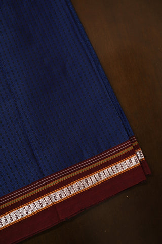 Blue with Maroon Border Khun Cotton Fabric