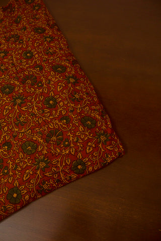 Maroon with Green Floral Block Printed Ajrak fabric