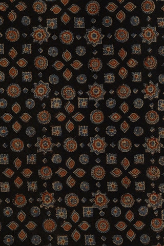 Stars and Circles in Black Ajrak Cotton Fabric-1.6m