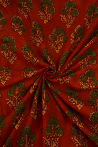 Maroon with Green Daisy Flower Block Printed Ajrak fabric