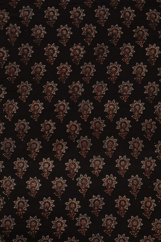 Small Floral Ajrak Block Printed Cotton Fabric