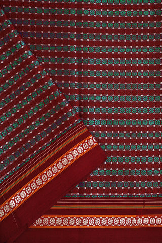 Maroon with Blue Circles Khun Cotton Fabric