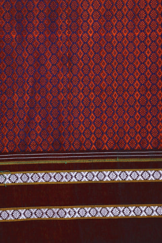 Blue with Rust Red Khun Silk Cotton Fabric