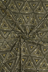 Grey with Black Triangles Block Printed Ajrak fabric