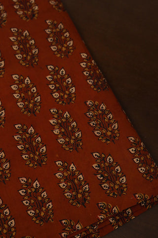 Rust Red with Beige Leaves Ajrak Cotton Fabric