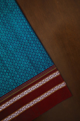 Ramar Blue with Maroon Khun Silk Cotton Fabric