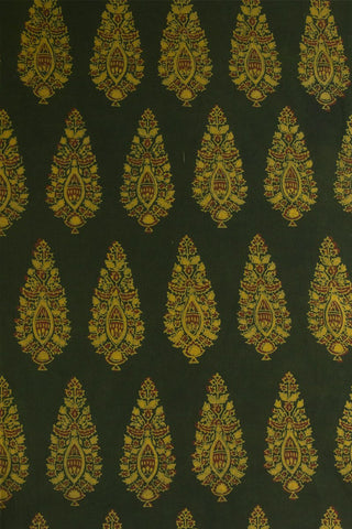 Dark Greek with Fenugreek Floral Block Printed Ajrak fabric