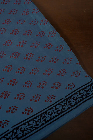 Steel Blue with Floral motif Bagh Print Cotton Fabric-2 m
