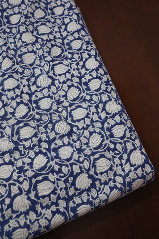 Blue Small Lotus Floral Link Sanganeri Cotton Fabric