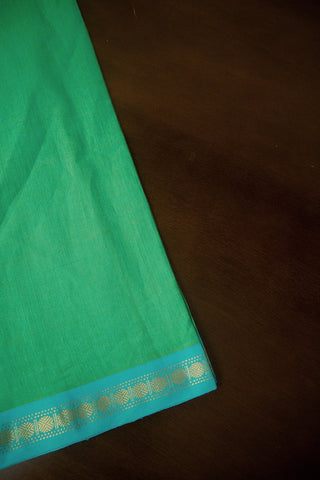 Bluish Green with Blue Zari Border Handwoven Cotton Fabric