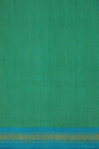 Bluish Green with Blue Zari Border Handwoven Cotton Fabric - 2.3m