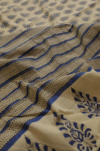 Beige with Blue Bagru Printed Mul Cotton Saree