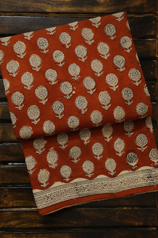 Rust Red Floral Bagru Printed Mul Cotton Saree