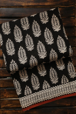 Black Big Leaf Floral Bagru Printed Mul Cotton Saree