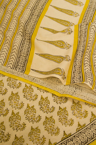 Beige with Yellow Block Printed Mul Cotton Saree