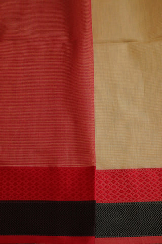 Beige with Red and Black Thread Border Maheshwari Silk Cotton Saree