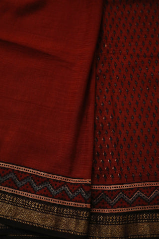 Subdued Maroon with Small Indigo Leaf Ajrak Silk Cotton Saree