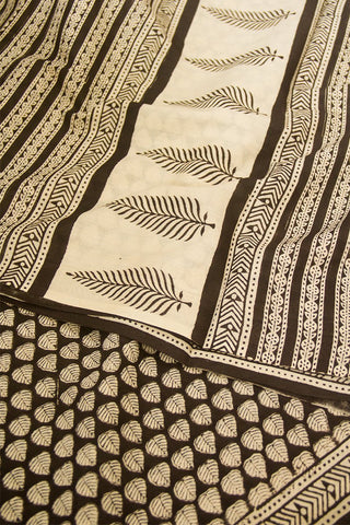 Black Leaf Print Mul Cotton Saree