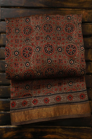 Big Circles in Greyish Brown Ajrak Silk Cotton Saree
