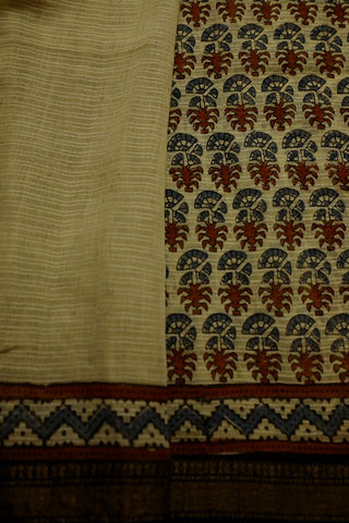 Beige with Indigo Ajrak Silk Cotton Saree