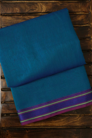 Blue Thread Border Maheshwari Silk Cotton Saree