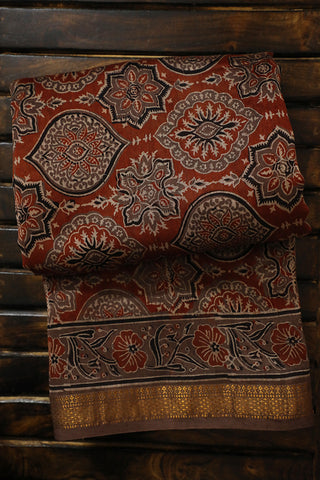 Brick Red with Intricate Design Ajrak Silk Cotton Saree